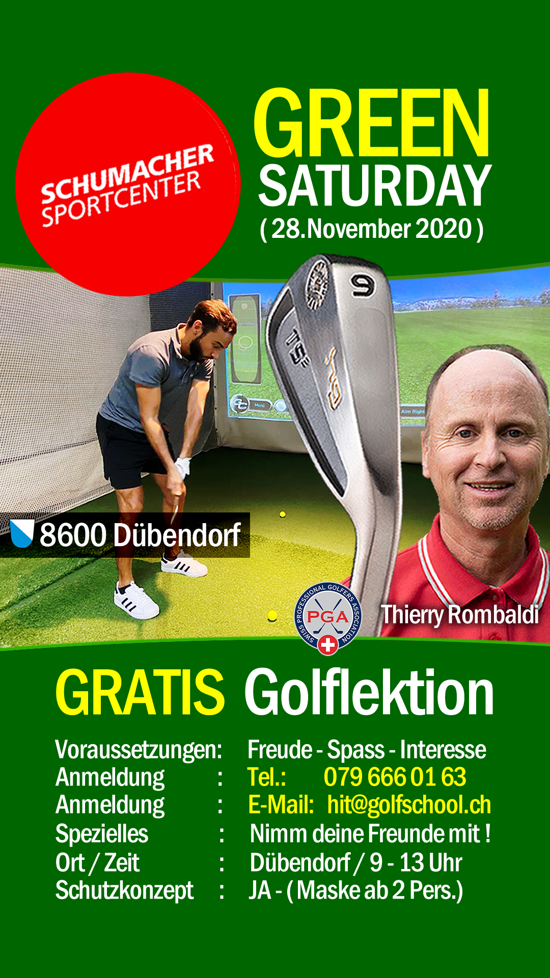 AKTION-GREEN-FRIDAY-GOLFSCHULE-ZURICH-SCHUMACHERCENTER-DUEBENDORF